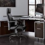 Kennedy Executive Desk with Powder Chrome Accents
