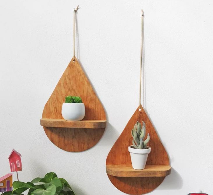 Drop-shaped hanging shelves