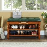 Fabric Upholstered Storage Entryway Bench