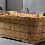 Free Standing Cedar Wooden Bathtub