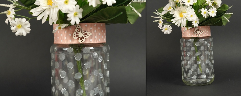 Frosted glass vase from a jar