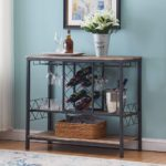 Industrial Wine Rack Table with Glass Holder
