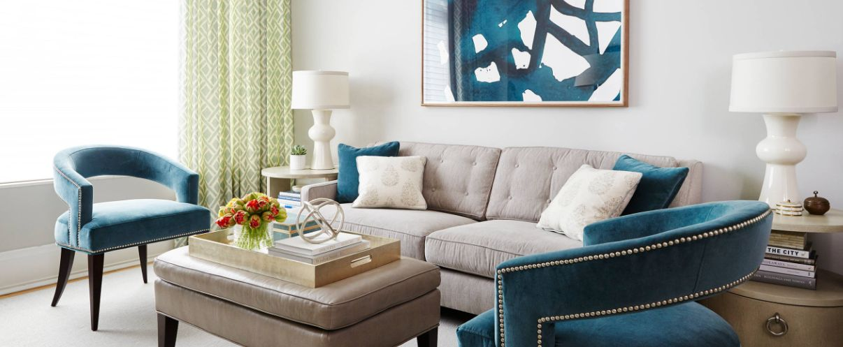 Living Room With Modern Furniture In Teal Color Home