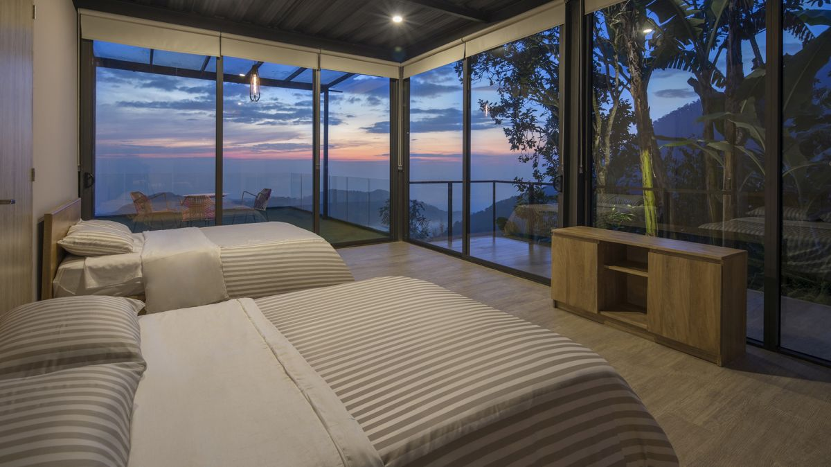 The bedrooms are situated on the upper level and enjoy panoramic views
