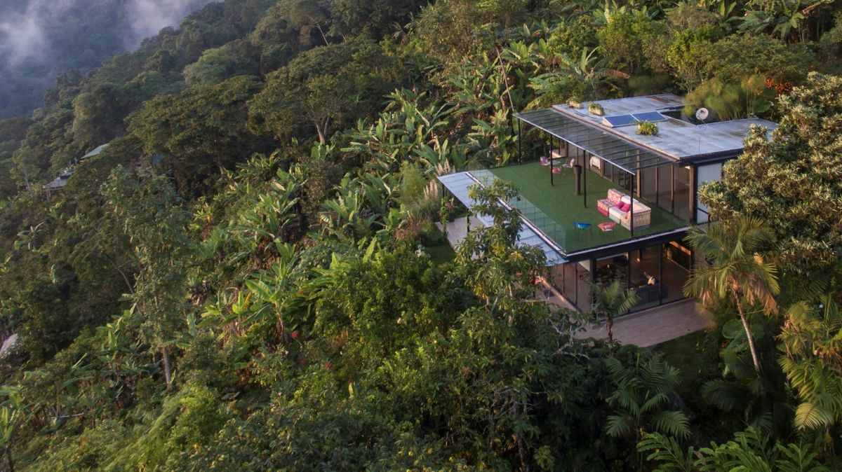 The house has minimal impact on its surroundings, being tightly surrounded by nature on all sides
