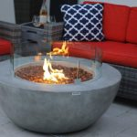 Modern Concrete Fire Pit Table Bowl with glass