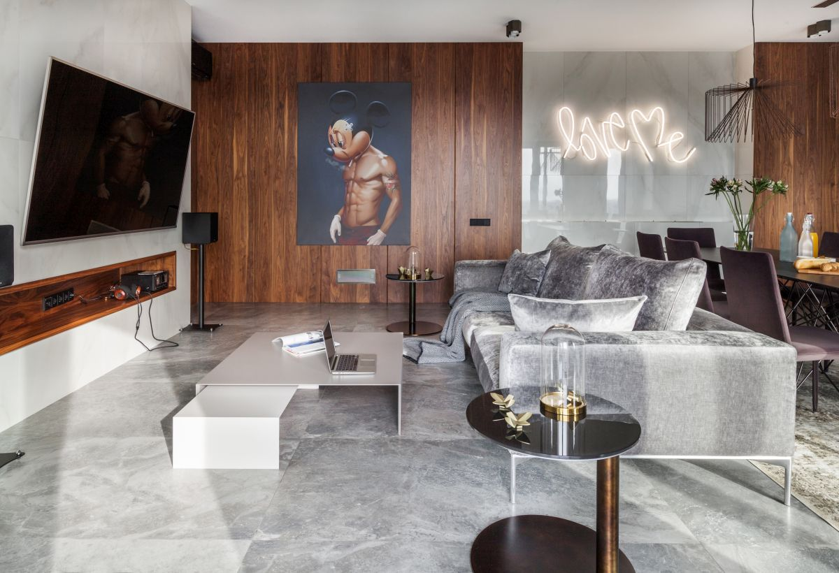 The interior design is simple and modern but also full of many quirky and intriguing little details