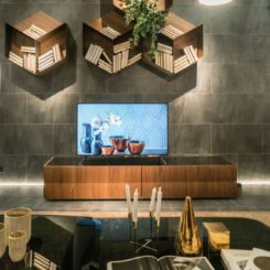 Modern living room wall unit and honeycomb shelves