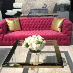 Pasargad rug tufted pink sofa