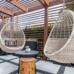 Pergola hanging egg chairs