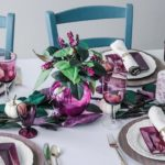 Purple table decor for Thanksgiving