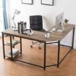 Corner Laptop Computer Table with Wood and Metal Shelf