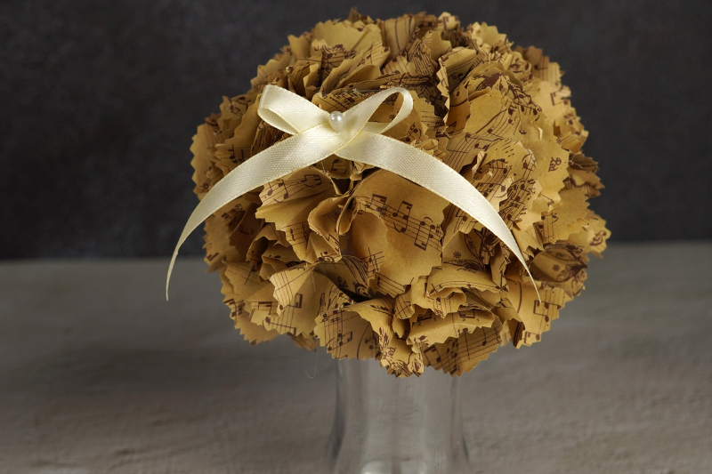 Flower bouquet made of patterned paper