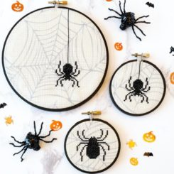 Spooky cross stitch spiders