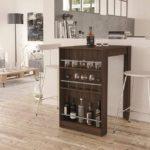 Stylish Bar Table with Wine Storage Dark Brown