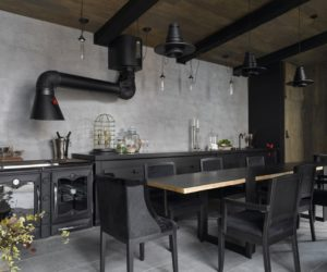 A Beautiful Summer Kitchen With A Rustic-Industrial Design