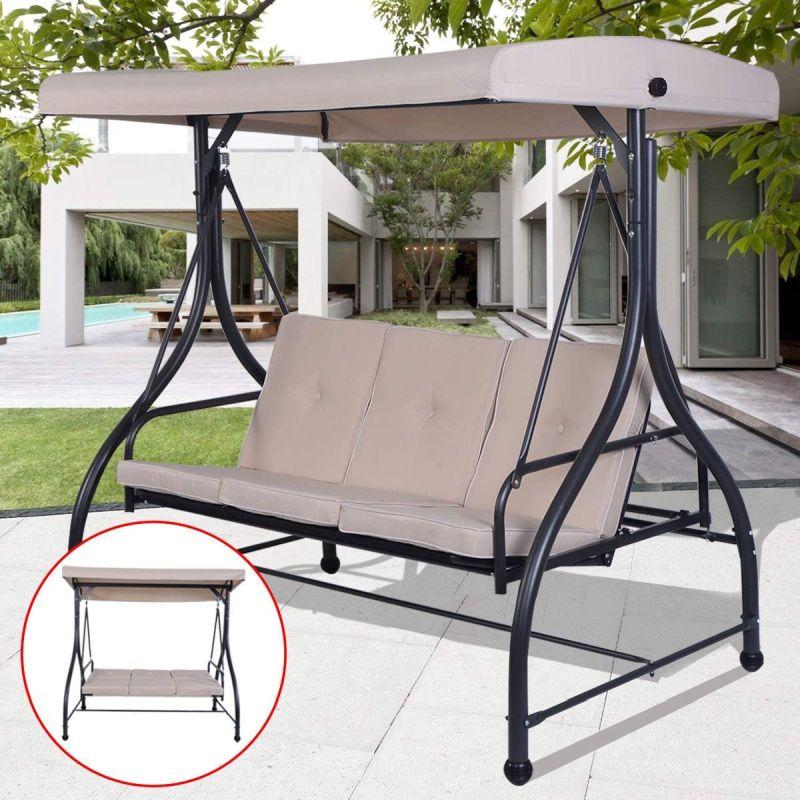Tangkula 3 Seats Converting Patio Swing