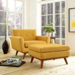 Yellow Living Lounge Room Armchair and Ottoman