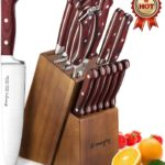 15-Piece Kitchen Knife Set with Block Wooden