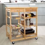 Rolling Bamboo Kitchen Cart Island on Wheels Trolley