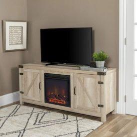 Barn Door Wood Fireplace Stand