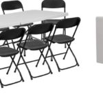 Bi-Fold Granite White Plastic Event/Training Folding Table Set with 10 Folding Chairs