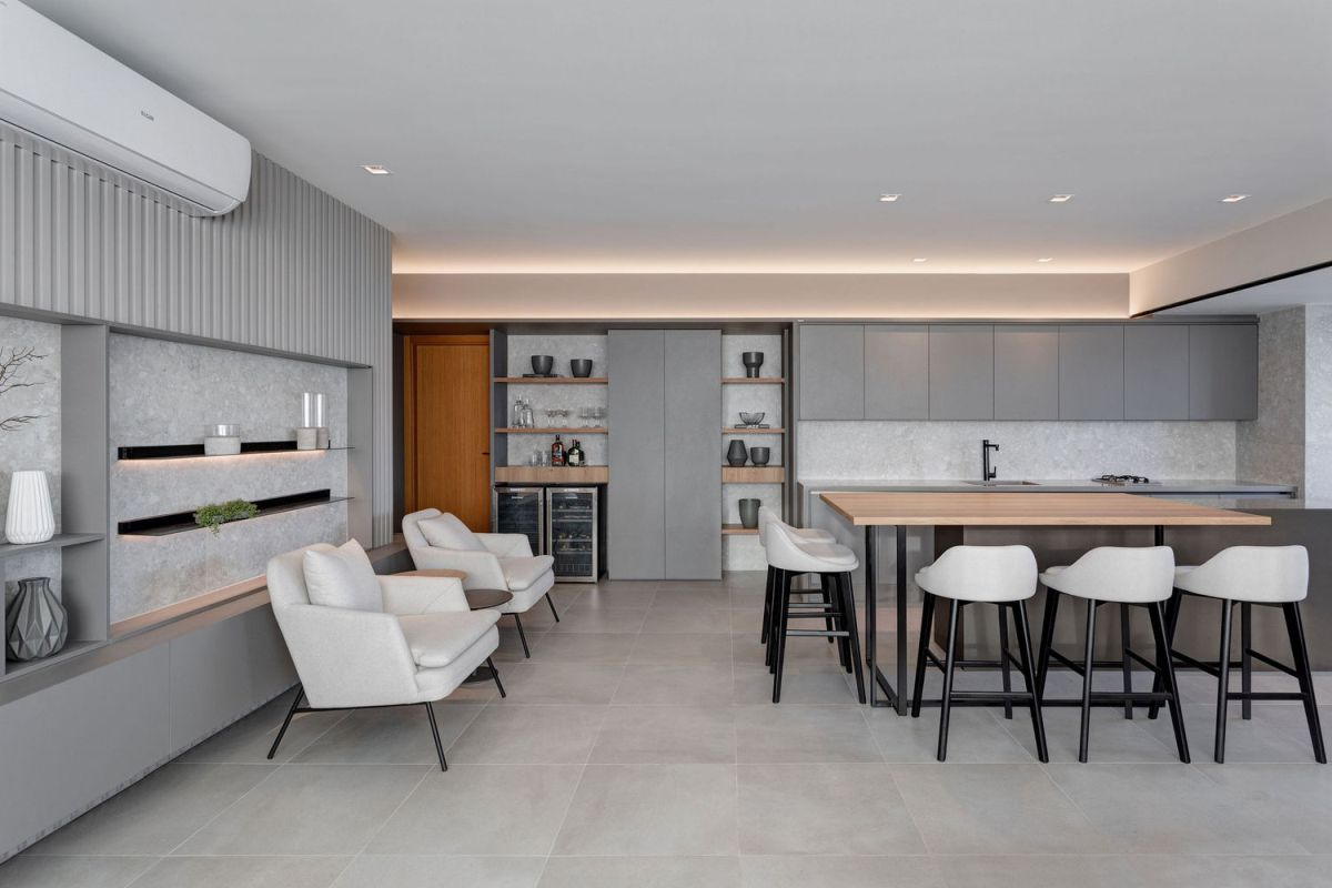 Although the color scheme is reduced to neutrals, the apartment doesn't lack character