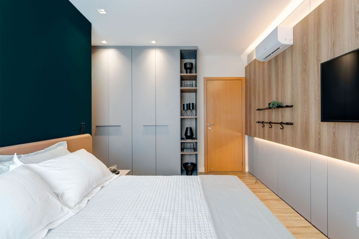 Custom-built furniture creates a very seamless and natural connection between the rooms