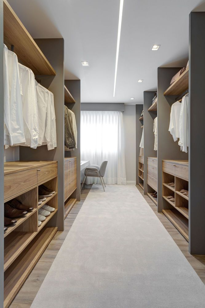 The dressing room is as simple and elegant as every other space in this apartment