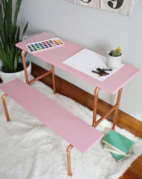 Custom copper pipe kid's desk