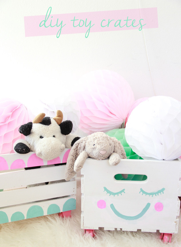 Cute toy storage from wooden crates