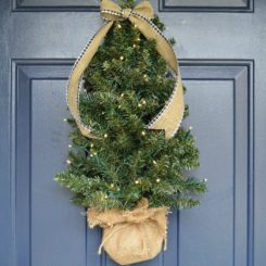 Front door christmas tree wreath