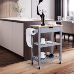 Grey Rolling Kitchen Cart