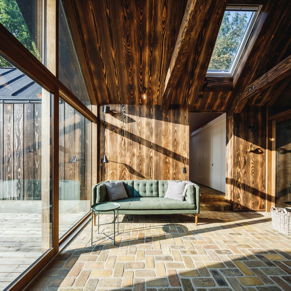 All of the five volumes have glazed facades and sliding glass doors