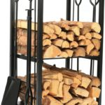 Iron Firewood Log Rack with Fireplace Tool Set