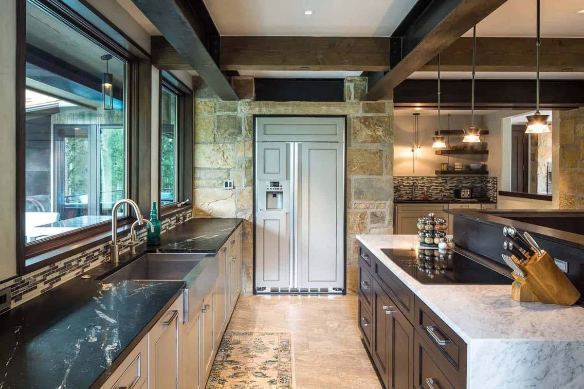 A variety of natural materials, finishes and colors were used throughout the house and the kitchen is the perfect place to check some of them out