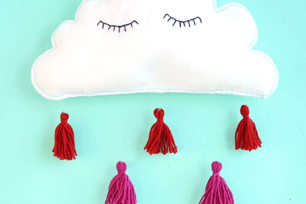 Puffy clouds made of felt