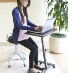 Solid-Top Height Adjustable Mobile Laptop Desk Cart