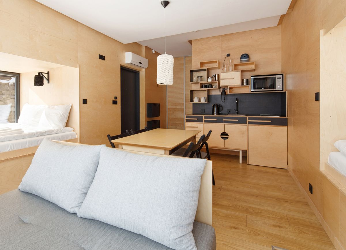 Wood was used on almost all surfaces inside and out which makes the apartment feel very welcoming