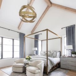 Vaulted ceiling bedroom with canopy bed