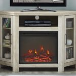 Wood Corner Fireplace Media TV Stand Console