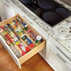 Wooden Spice Drawer Storage Organizer Insert,