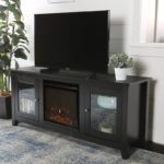 Black Fireplace Television Stand with Glass Doors