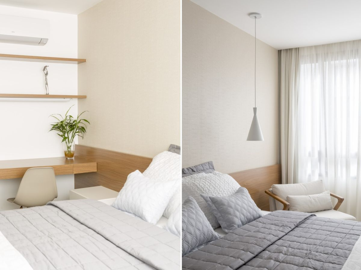 Although small, the bedroom looks and feels bright and airy as well as very cozy