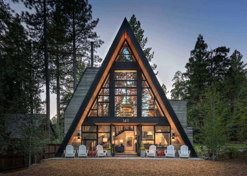 Contemporary A-frame Cabin With A Soaring Ceiling And Huge Windows