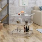 Acrylic Bar Trolley with Glass Shelves