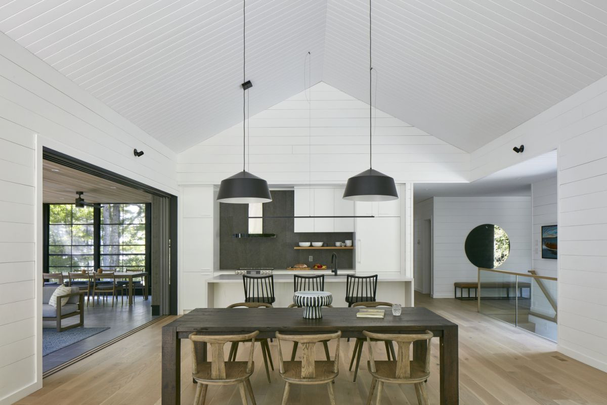 The white walls and ceilings enhance the natural light which is very helpful towards the center of the house
