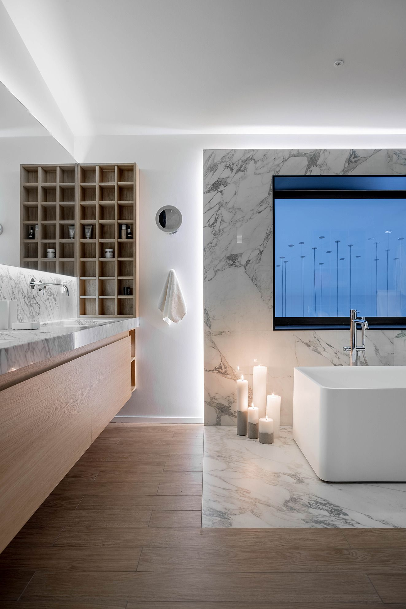 The master bathroom features very soothing accent lighting