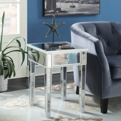 Coast Mirrored End Table with Drawer