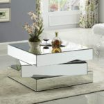 Contemporary Mirrored Coffee Table Featuring a Bold Geometric Design